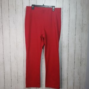Chico's Red Ponte Knit Juliet Straight Leg Pants